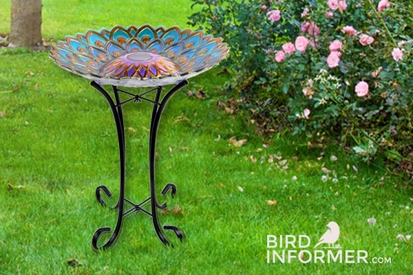 Solar Lighted Peacock Bird Bath