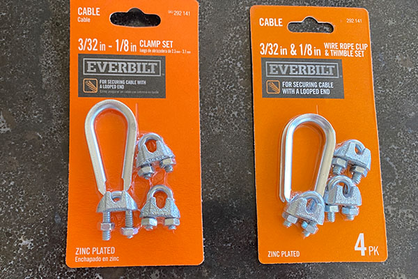wire rope clip and thimble to secure wire between two trees for bird feeders